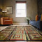 Geometric rug defines accent colors