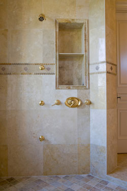 Shower Wall Tile Design this spacious walk in shower features large gray tiles with a textured look smaller One Of The First Things To Take Into Consideration When Choosing A Tile For A Tub Or Shower Is The Size Larger Tiles Help Make An Area Appear Larger